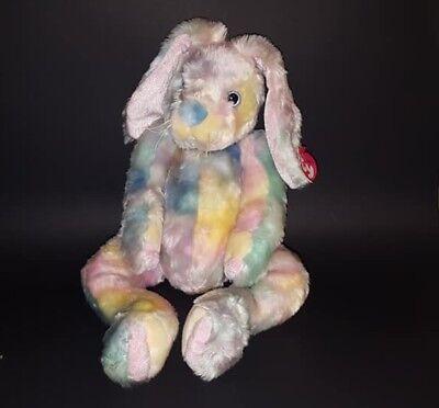 """TY CLASSIC 2001 Tylux Soft Stuffed TWITCHER BUNNY Plush Pastel Tie-Dye 16"""""""