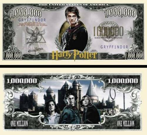 Harry Potter Million Dollar Bill Fake Play Funny Money Novelty Note FREE SLEEVE