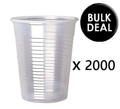 2000 x CLEAR Plastic 7oz Disposable Cups Drinking Glass Vending Style Cup