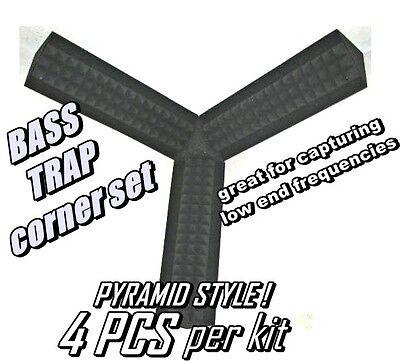 Small CORNER BASS TRAP KIT GRAY Studio Soundproofing Acoustic Wedge Foam (1 KIT) Acoustic Studio Bass Trap