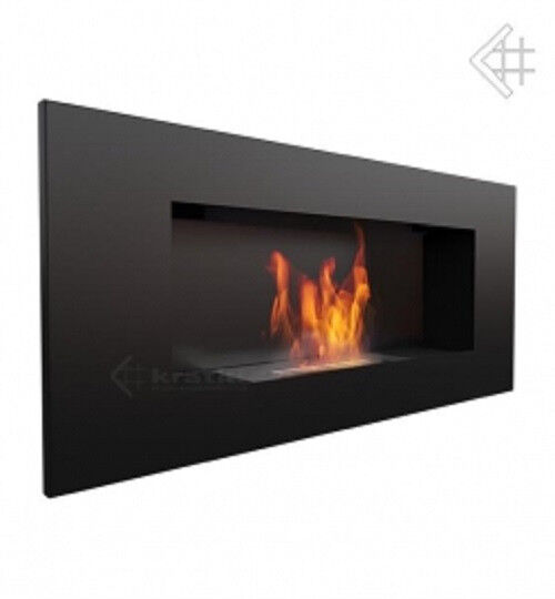 Bio ethanol fireplace 900x400 black with safety cointainer with wool onsert adjustable lid.