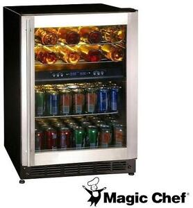NEW MAGIC CHEF BEVERAGE COOLER - 114967532 - 16-Bottle / 77 Can - Dual-Zone Wine and Beverage Cooler