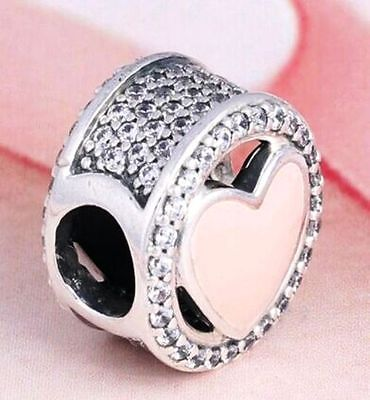 LOVE is WONDERFUL PINK ENAMEL HEART w CZ 925 Sterling Silver European Charm Bead