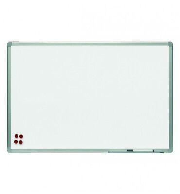 Pizarra blanca magnetica lacada 120x90 cm con marco y repisa de aluminio