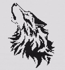 Punto-de-cruz-patron-o-Kit-Animal-Monocromo-Lobo-lobo-principiantes