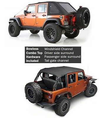 Smittybilt All In One Bowless Soft Top & Hardware For 07-18 4dr Jeep Wrangler (One For One And One For All)
