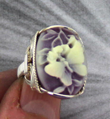 Butterfly Cameo Ring in Sterling Silver  Size 5 to 15    Wire Wrapped