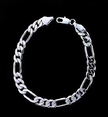 MENS 8MM 14K WHITE GOLD FINISH SILVER FIGARO LINK CHAIN BRACELET ()
