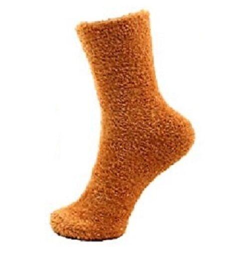 Women/'s Fuzzy Burnt Orange Dijon Brown Cozy Warm Plush Home Lounge Socks