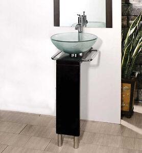17 to 22 bathroom clear glass vessel sink wood vanity