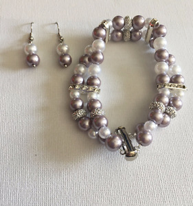Two-tiered Pearl Statement Bracelet and Earring Sets