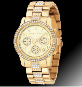 Michael Kors MK5109 Gold Watch w/ Swarovski Crystals