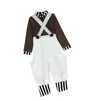 Boys Oompa Loompa Fancy Dress Costume Kids Child Factory Worker Book Week Outfit ()