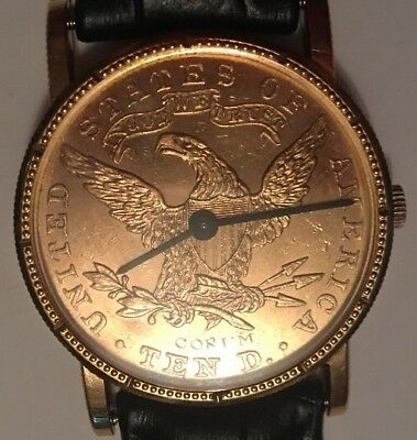 Corum Mens Swiss Watch $10 Gold Coin 1893 w/ 18 Jewels & Manual Wind