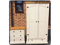 Pine Solid Mexican Corona Bedroom Furniture Set Wardrobe & Matching Chest of Drawers Hand Painted
