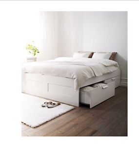 White queen bed frame with storage & matress! Gymea Bay Sutherland Area Preview