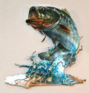 Bass freshwater fish refraxions 3d metal wall art fishing for Bass fishing 3d