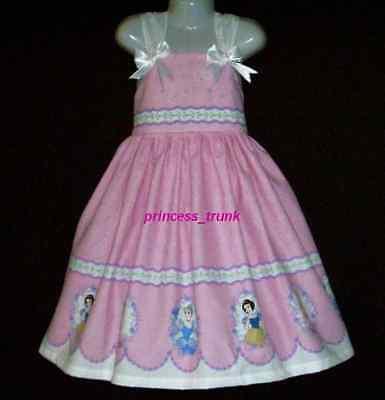 NEW Handmade Disney Princess Cinderella Belle Border Sun Dress Custom 12M-10Yrs (Disney Princess Sundress)