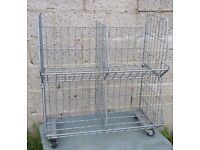 Stacking wire display baskets with wheels