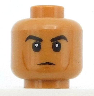 LEGO NEW MEDIUM DARK FLESH MINIFIGURE HEAD WITH RAISED EYEBROWS FACE PIECE