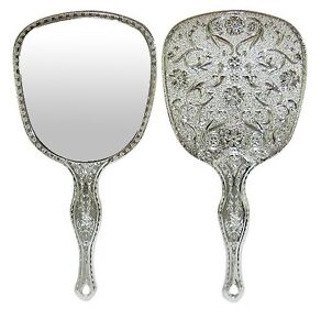 Antique Engraved Silver Hand Held Vanity Mirror Floral Design Make Up Mirrors
