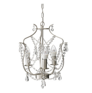 IKEA KRISTALLER Chandelier, 3-armed, silver color, glass