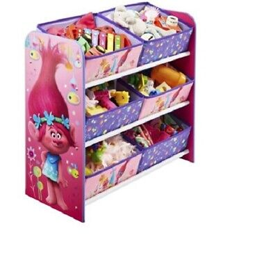 Dreamworks Trolls 6 Bin Multi Storage Unit Organizer Toy Box Kids Toy Bed Room (Multi Bin Toy Organizer)