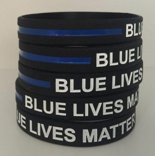 10 Thin Blue Line Silicone Wristband Police Bracelet BLUE LI