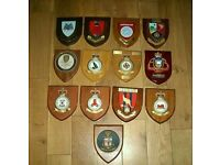 Stunning collection of Vintage Wooden Mess Plaques/Crest Shields