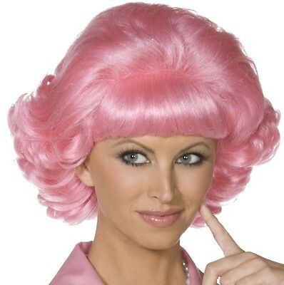 50s 1950s Frenchy from Grease Fancy Dress Wig Pink 70s Film Wig New by Smiffys - Dresses From Grease