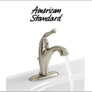 NEW AS ESPANA BATHROOM FAUCET AMERICAN STANDARD, SINGLE HANDLE, MID ARC, SATIN NICKEL 102282429