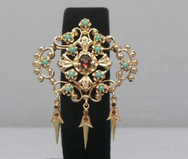 Intricate Stunning 14k Gold Garnet Persian Turquoise Pin Pendant