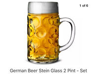 2 Pint/1L Dimpled Stein glasses