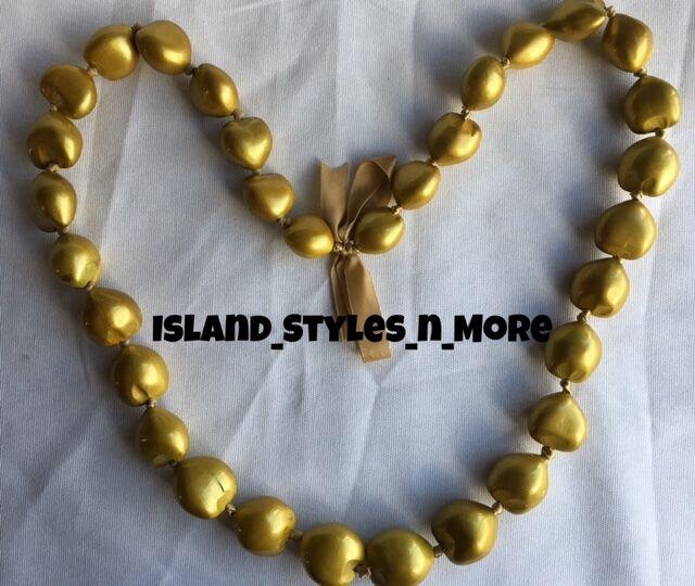 Hawaii Wedding Kukui Nut Lei Graduation Luau Hula Party Necklace SOLID GOLD NWT