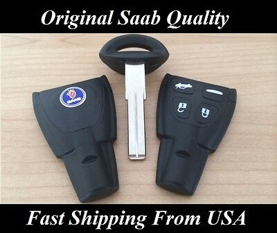 SAAB ORIGINAL QUALITY KEY SHELL+BLADE REPLACEMENT KIT 2003 2004 2005 2006 2007