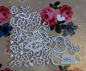 12 White TATTERED LACE Die Cut Cherished Hearts Corner.