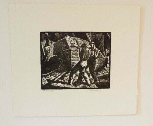 WILLIAM WOLFSON 1930s WOODBLOCK PRINT SMALL EDITION - LISTED - $375.00