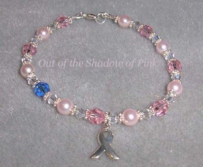 Breast Cancer Awareness Bracelet made with Swarovski Crystals/Pearls  .925 SS  ()