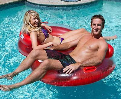 Inflatable Double Duo Water Ring 2 Person Pool Chair Lilo Lounger Air Bed Float