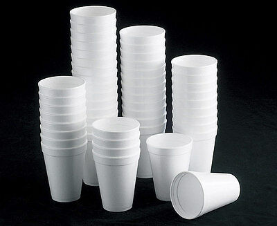 12 Oz White Foam Cups (7oz 10oz 12oz WHITE FOAM / POLYSTYRENE HOT TEA DISPOSABLE CUP GLASS PARTY CUPS)