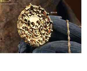 Pirates of the Caribbean Aztec coin Medallion Skull Charm Necklace UK SELLER
