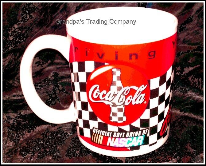 NASCAR Coca Cola Driving your Thirst Coke Racing Mug NEW Checkered Flag and Red