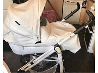 Babystyle prestige white leather travel system