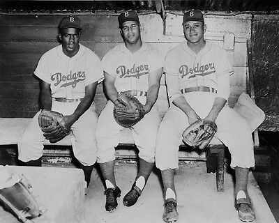 Brooklyn Dodgers Photo - Brooklyn Dodgers JACKIE ROBINSON ROY CAMPANELLA & DON NEWCOMBE Glossy 8x10 Photo
