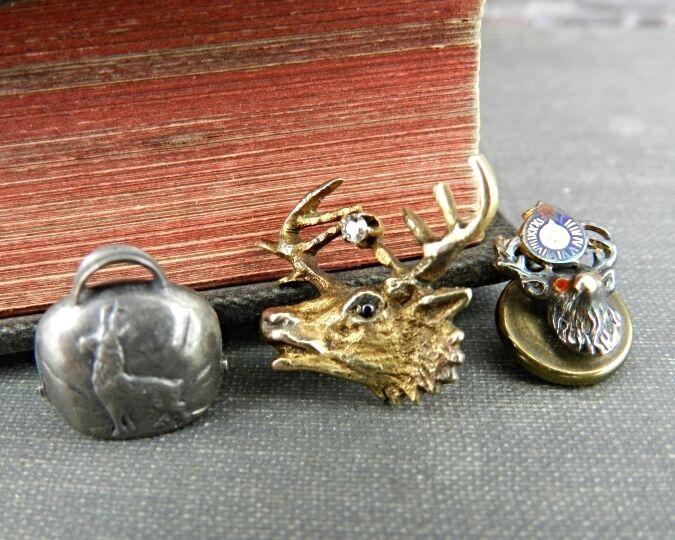 Vintage 14K Gold & Silver Deer / Elk Pins & Charm