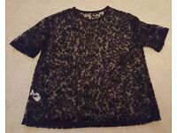 LADIES BLACK LACY T-SHIRT FROM ATMOSPHERE SIZE 8UK / 36EU
