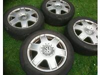 """Genuine VW Bora Sport 16"""" alloy wheels + tyres 5x100 Audi Seat skoda Toyota vag"""