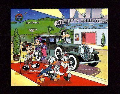 REDONDA - 1990 - DISNEY - CLASSIC CARS - CADILLAC - MICKEY -  MINT  S/SHEET!
