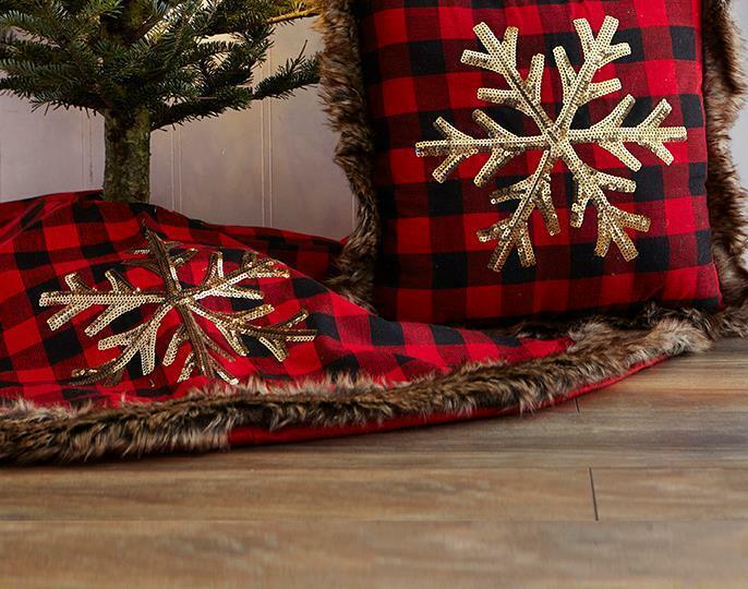 """Harman 48"""" Red Buffalo Check Christmas Tree Skirt Faux Fur Trim Snowflake"""