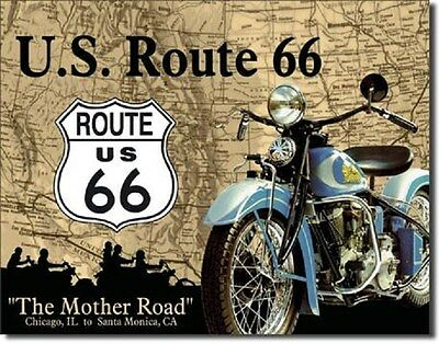 The Mother Road U.S. Route 66 Metal Tin Sign Wall Art